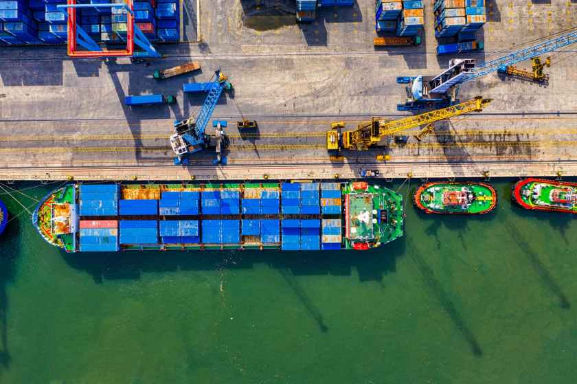 aerial photography of cargo ship